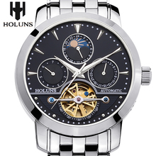 Reloj mecánico hueco de acero automático de los hombres de negocios de moda de mesa masculino impermeable Tourbillon 2016 Holuns relojes Regalo de la opción