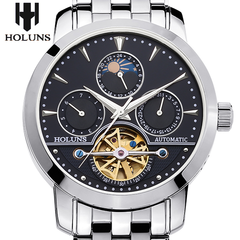 men automatic mechanical watch hollow steel fashion business waterproof male table Tourbillon 2016 Holuns watches Gift