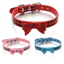 Classic tartan design pet Collar Popular Necklace for Puppy Dog Sequin Bowknot Leather small dog or cat Pet Collars