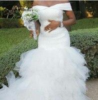 Luxury Pearls beads White Mermaid Wedding Dress 2020 Plus Size Cap Sleeve Tassel Tiered Custom Made Africa Wedding Dresses W0366