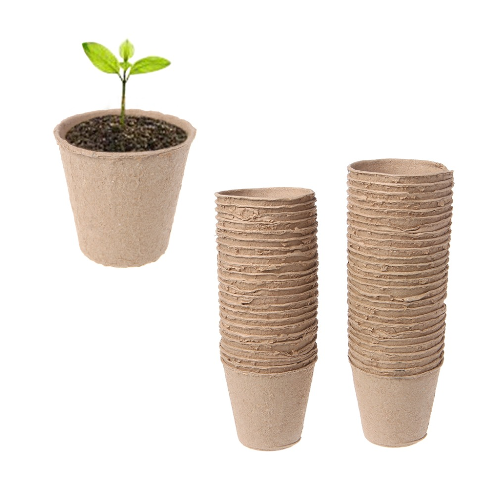 50Pcs Round Biodegradable Paper Pulp Peat Pots 8x8cm Plant Nursery Cup Tray Garden New