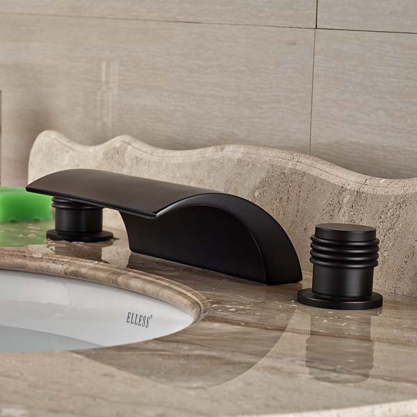 все цены на 3pcs Waterfall Bathroom Faucet Mixer Tap Hot And Cold Mixer Oil Rubbed Bronze онлайн