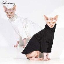 Hairless Sphinx/одежда с кошкой из чистого хлопка; толстовки с капюшоном с длинными рукавами и высоким воротником; джемпер; сезон осень-зима; костюм кошки; 20E