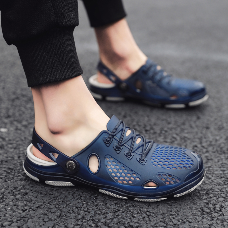 Hole Shoes Brand Big Size 39-45 Croc Men Black Garden Casual Aqua Clogs Hot Male Band Sandals Summer Slides Beach Swimming Shoes