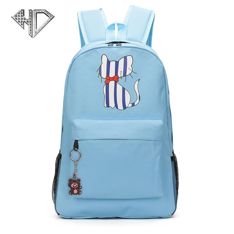 Brand Backpack For Women Cute Cat Print Backpacks for Teenage Girl Travel Back Pack Bear Pendant Canvas Backpack Mochila Escolar