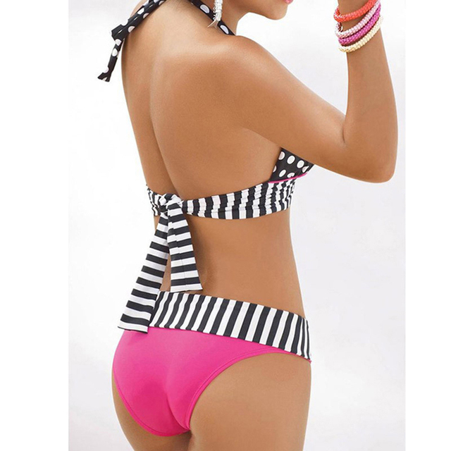 Brazilian Retro Polka Dot Halter Two-piece Suits Bra Bikinis Set Stripe Bathing Suit Swimwear Plus Size S-4XL 2