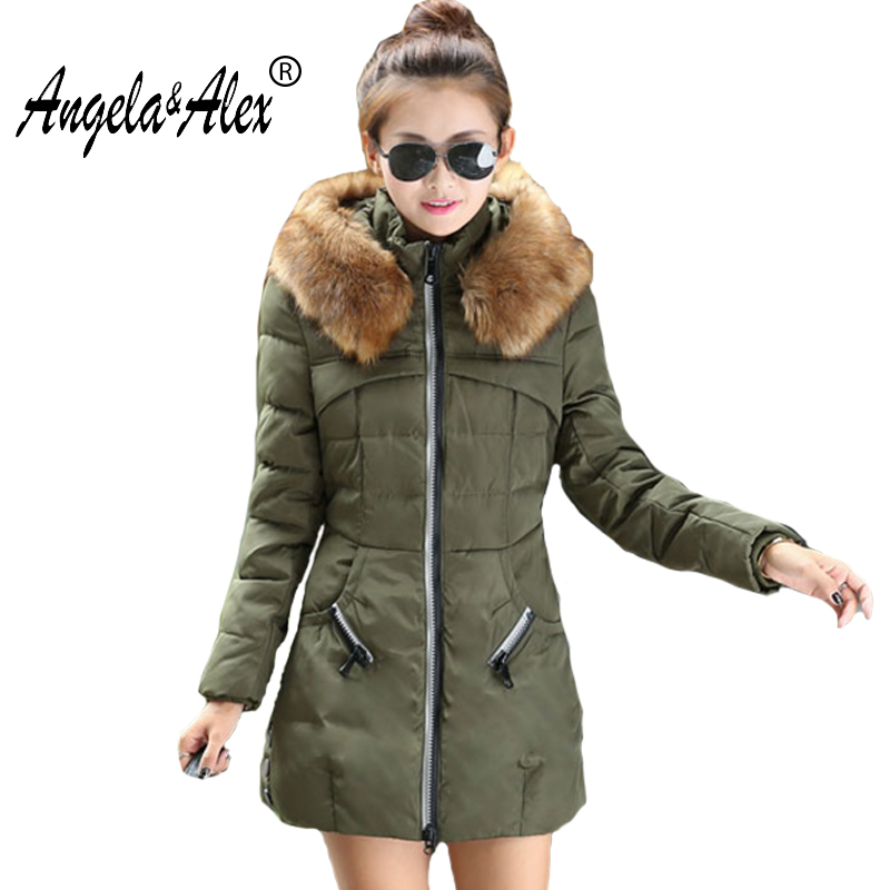2017 New Women Autumn Winter  Thick Warm Long Cotton Paded Coat Female Jacket Fur Hooded Collar Slim Windbreaker Ladies Coats muxu new autumn winter coat women basic jacket coat female slim hooded cotton coats casual silver long sleeve ladies jackets