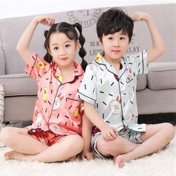 Short Sleeve Silk Pajamas for Girls Boys pjs Summer Pajama Set Silk Satin Pijama mujeer Pyjamas Sleepwear suit 10 years old