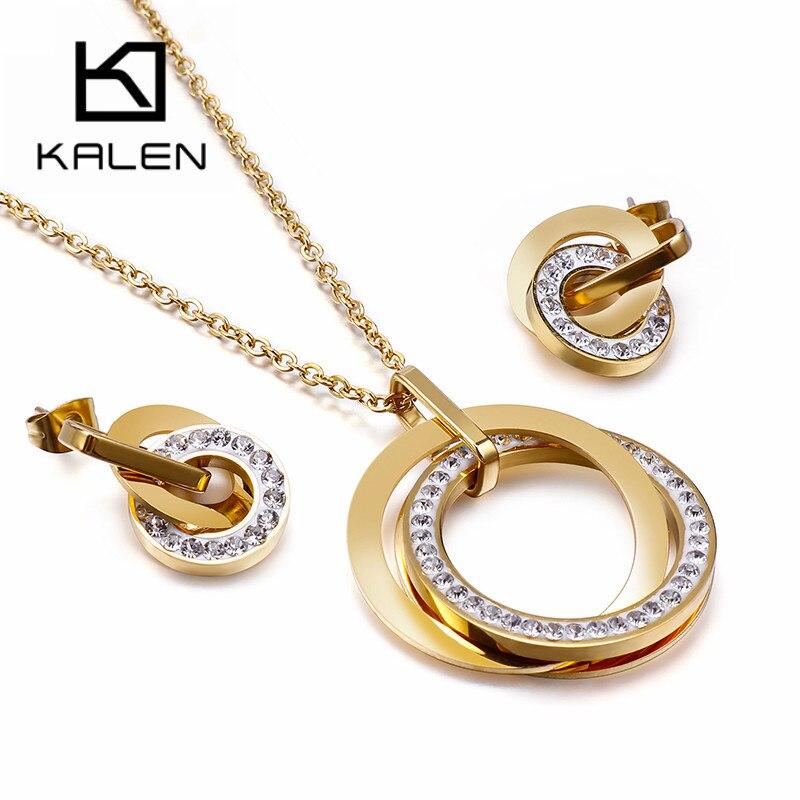 Kalen Stainless Steel Jewelry Sets For Women Three Rounds Pendant Necklaces Earrings Sets Women Fashion Zircon Wedding Jewelry