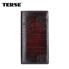 TERSE Vintage business male font b wallet b font handmade leather long font b wallet b