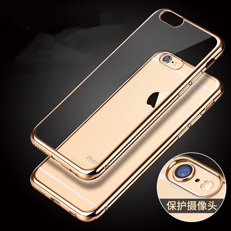 Silicone Gilded Frame Slim Plating TPU Soft Silicone Phone Case Fundas for iPhone 8 Plus 7 6 6S Plus 5 5S SE 4 4S Cover Coque