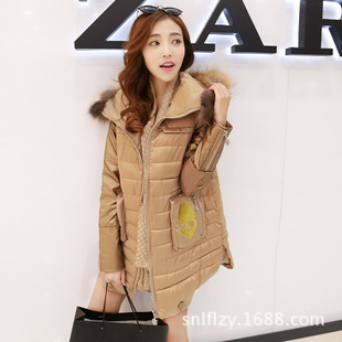 Hot Sale New 2014 Women Winter Fashion Md-Long Slim Thick Fur Collar Hooded Patchwork Skulls Cotton-Padded Casual Jacket LJ512
