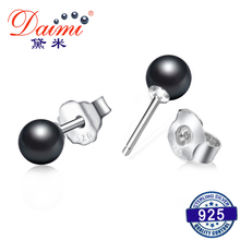 DAIMI 5-6mm Round Natural Pearl Studs Earrings 925 Sterling Silver Earrings Black Earrings