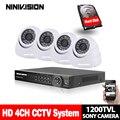 Система видеонаблюдения SONY 1200TVL  4-канальная HDMI 1080P DVR с системой безопасности  инфракрасная камера ночного видения 1 0 МП для помещения