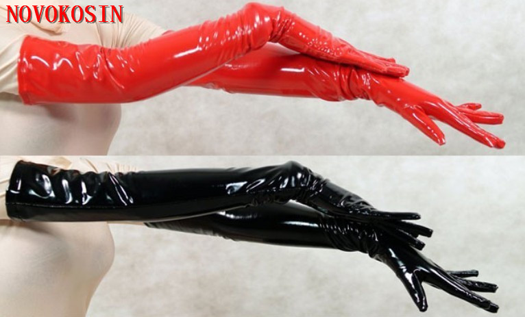 LK47 2018 Sexy Women PVC Long Gloves To Opera Black Red Faux Leather Punk Street Dance Fashion Gloves Cosplay Costume Accessory