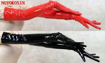 LK47 2018 Sexy Women PVC Long Gloves To Opera Black Red Faux Leather Punk Street Dance Fashion Cosplay Costume Accessory
