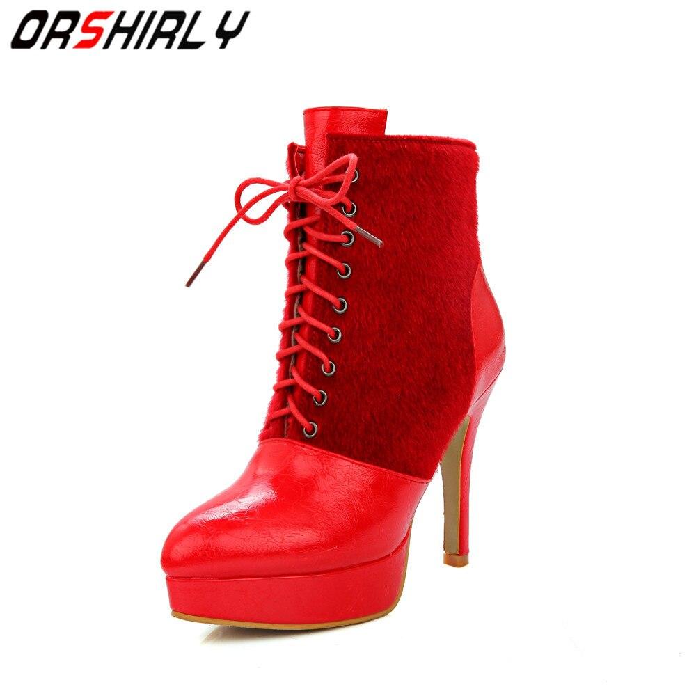 74e885421f76e 34 Leather Nero Pu Large Stivaletti Fashion Warm Toe 46 Pointed Tacchi  rosso Handmade Orshirly Solid Colore Autunno sottili Primavera bianco Donna  ...