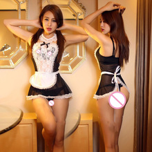 new women sexy lingerie hot lace French Maid hat+lingerie+t-pant+collar+hand accessories sexy costume erotic Lingerie 807