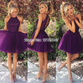 Halter Backless Purple Short Cocktail Dresses robe de cocktail 2016 Tulle Cocktail Dresses Prom dress gowns