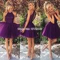 Halter backless púrpura corto vestidos de coctel robe de vestidos de cóctel 2016 vestidos de coctel de tulle prom dress