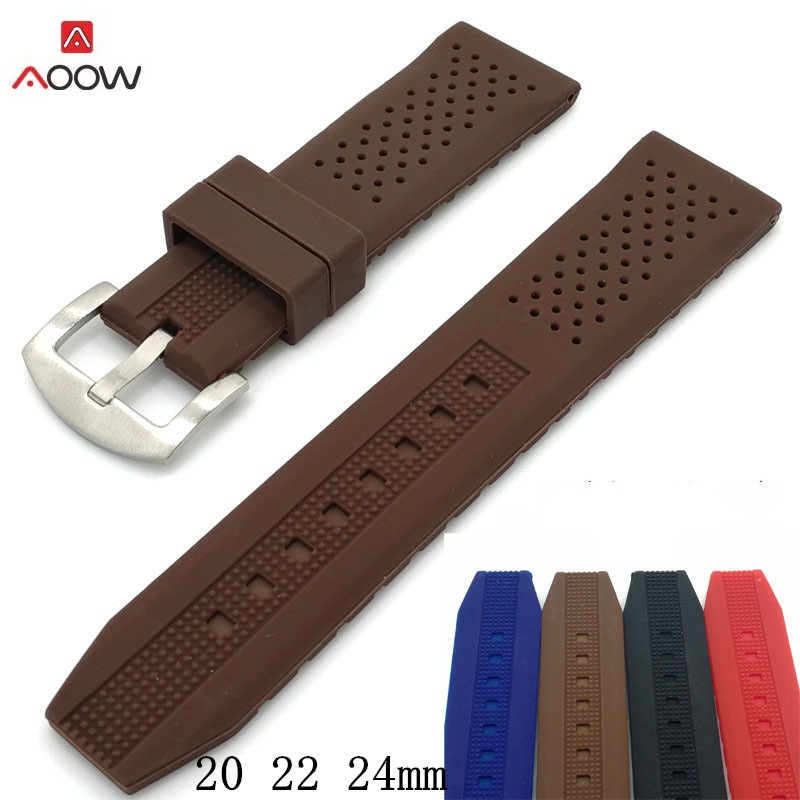 AOOW Generic Men Sport Watchband Diving Waterproof Replacement Watchbands Strap Bracelets Watch Accessories 20 22 24mm 4 Colors