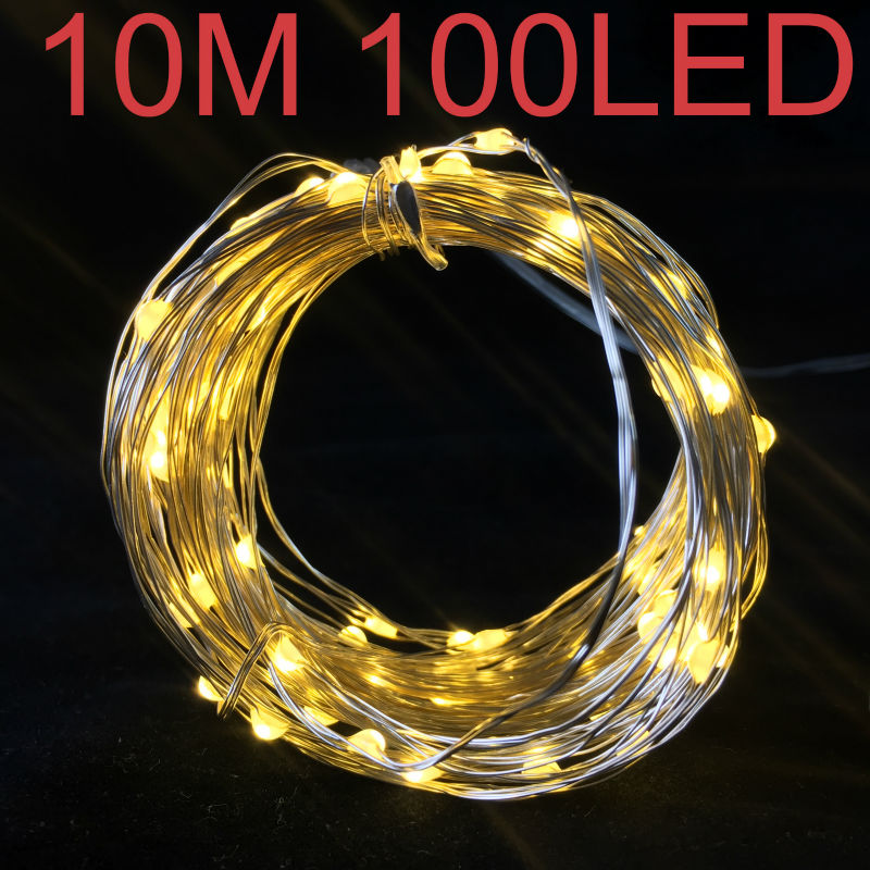 Christmas Home Decoration Accessories Battery LED String Lights Silver Coated Copper Wire 10M 100pcs Micro LED