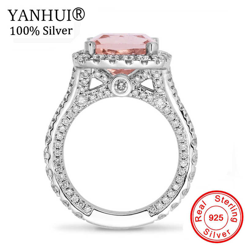 YANHUI Fashion Girl Pink Crystal Ring New 2019 Color Zircon Stone Ring For Women Wedding Jewelry Accessories Gift RA0528