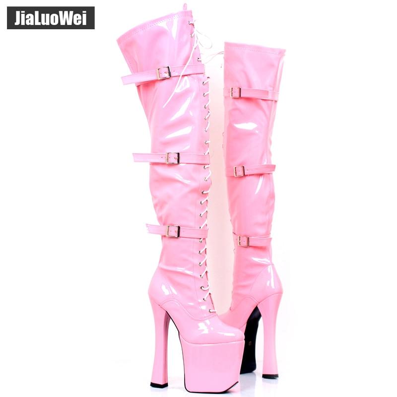 Pôle Haute Xtc Femmes Color 20 3028 Talon 7 Cuisse Plate Dentelle custom Cm Bottes La Sur Chaussures Jambe Jusqu'à Genou Danse