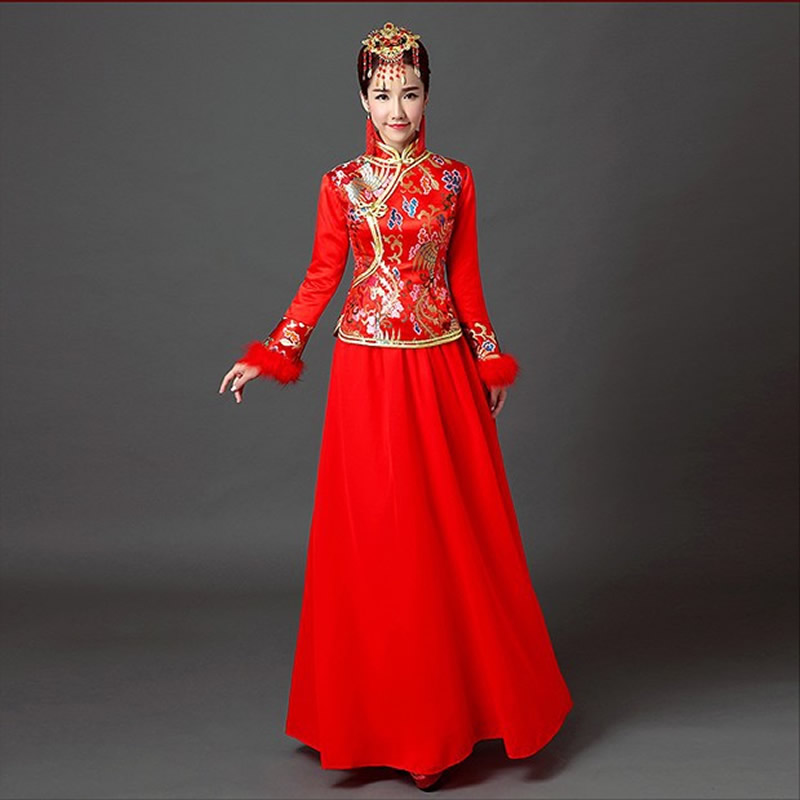 5df67f7b3ba China Wedding Dress Cheongsam Qipao Long Traditional Chinese Oriental  Dresses Robe Chinoise Winter cotton vintage Red qi pao-in Cheongsams from  Novelty ...