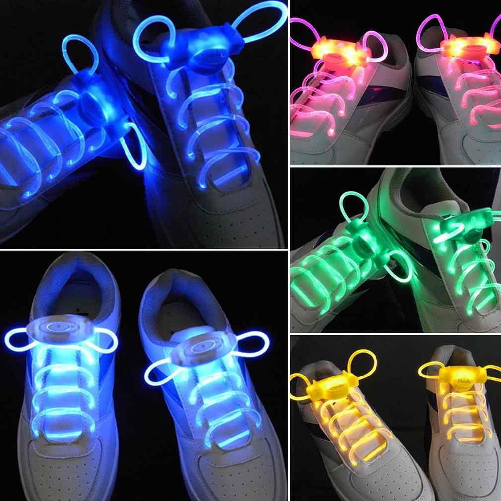 1 pair Flat Nylon Flashing Shoelaces Flash Light Up Glow Shoelace Unisex