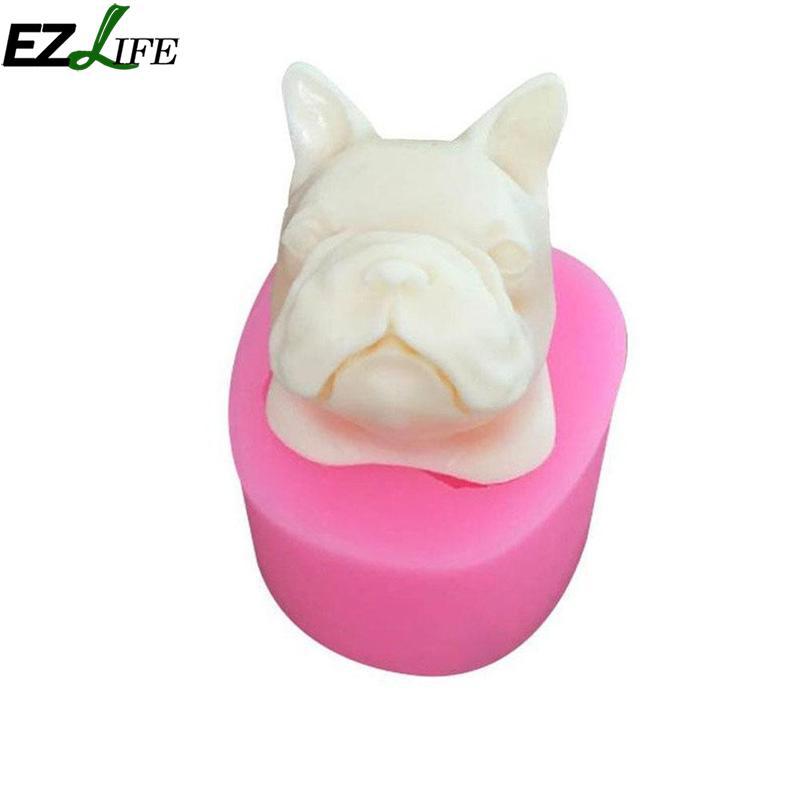 Bulldog Dog Head Plaster Mould Gypsum Aromatherapy Pendant Silicone Soap Mold Cake Decoration Mould CHW5313