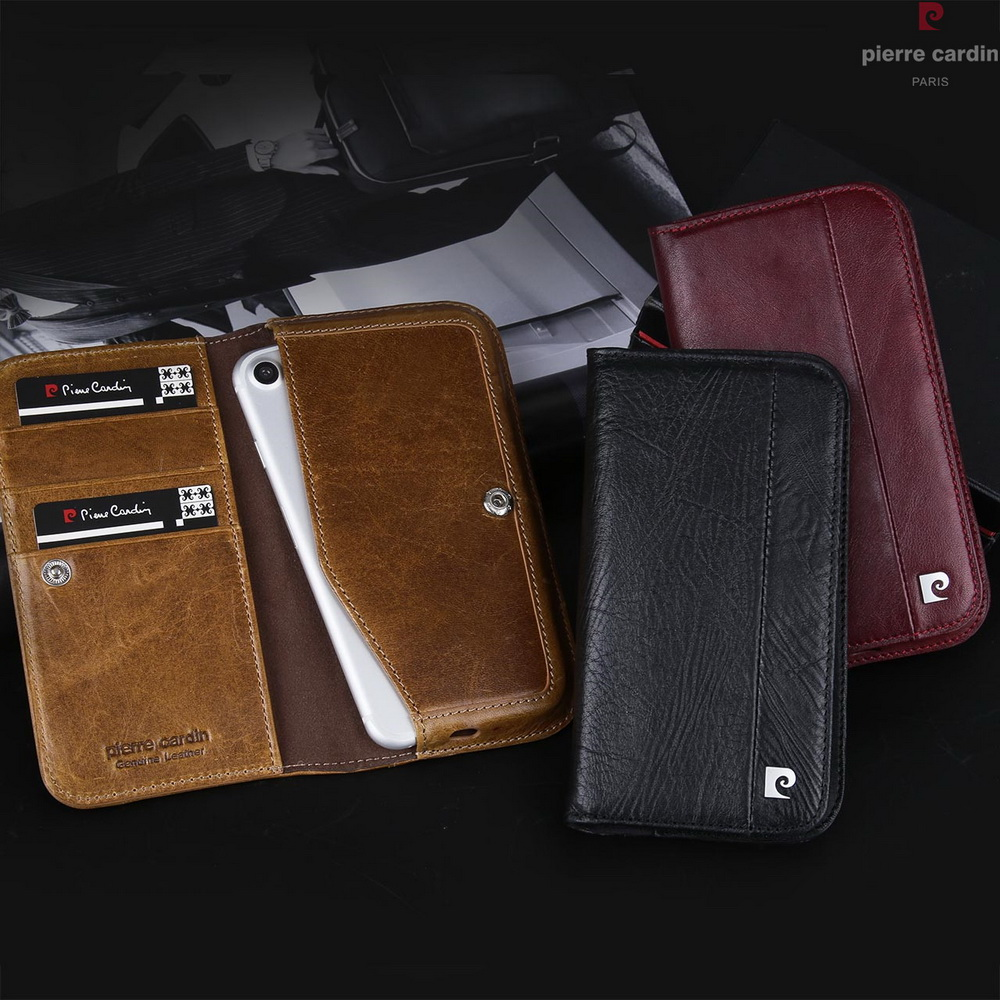 Newest Pierre Cardin Brand For Apple iPhone 8 7 6 6s Genuine Leather Wallet Case With