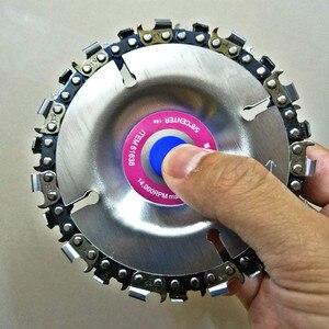 Image 4 - 4 inç ahşap oyma disk kesim zinciri 22 diş taşlama diski ince testere seti w/ 2 zincirler 100/115 açı öğütücü Wooking araçları