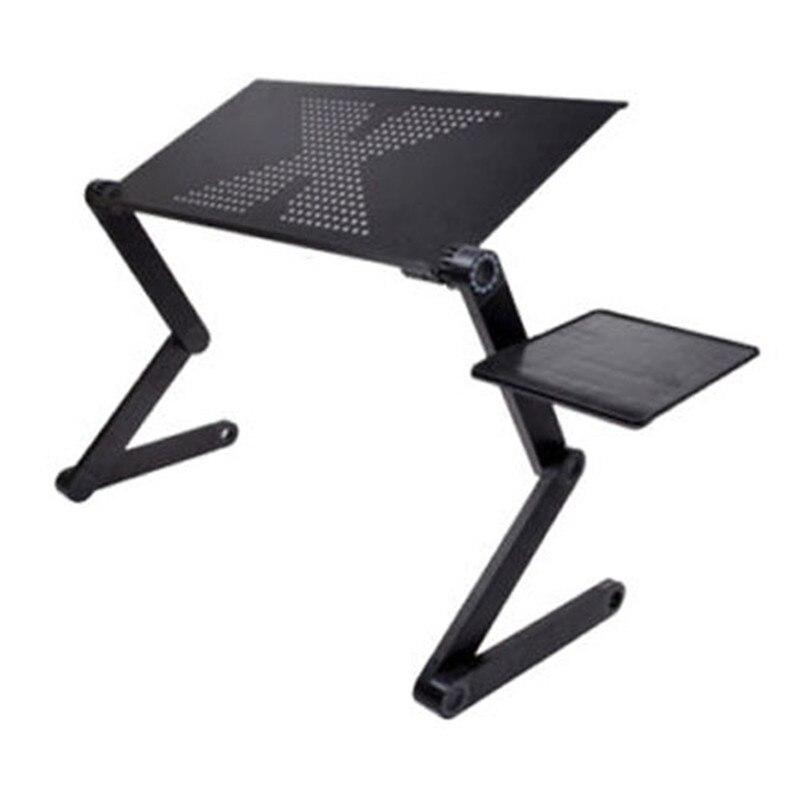 Mesa plegable ajustable portátil para ordenador portátil mesa para ordenador portátil bandeja de pie para sofá cama negro