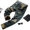 O envio gratuito de 2017 Promoção de Outono E Inverno Masculino Crânio Rua Retro Acabamento Lavagem Com Água Distrressed Calça Jeans Slim Pequenas Calças