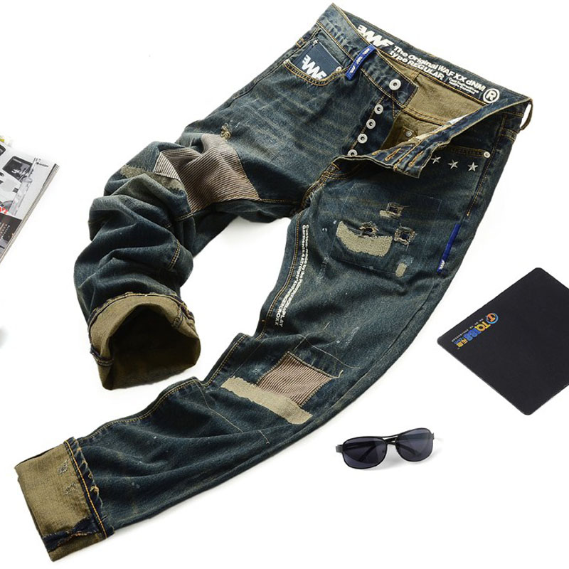 ФОТО free shipping 2017   Promotion Autumn And Winter Male Street Skull Retro Distrressed Jeans Finishing Water Wash Slim Small Pants