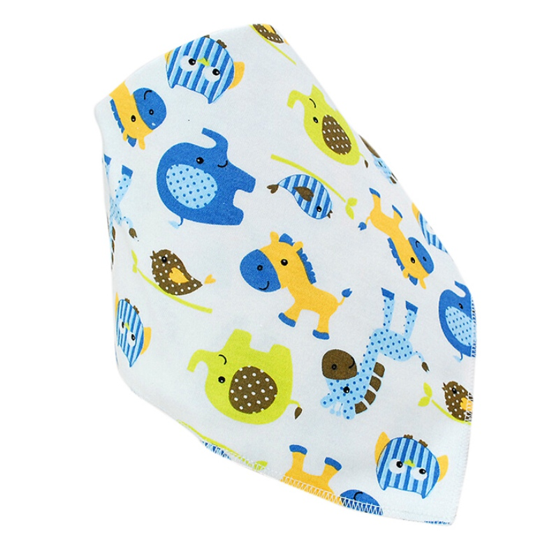 Baby Bibs Double Layer Cotton Cartoon Printing Anti Mouth Water ChildrenS Double Sided Buckle Triangle Mouth Towel