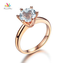 Peacock Star 14K Rose Gold Bridal Wedding Engagement Solitaire Ring 2 Ct Topaz 6 Claws
