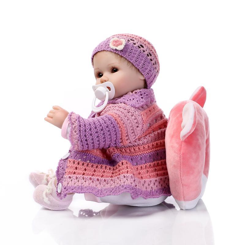 Nicery 16-18 pouces 40-45cm Reborn bébé poupée bouche magnétique souple Silicone réaliste fille jouet cadeau pour enfant noël violet vêtements - 4