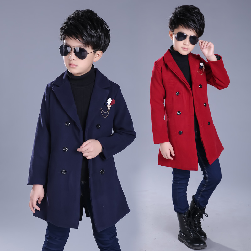 spring autumn boys jacket long section double breasted kids outerwear coat long sleeve turn down collar