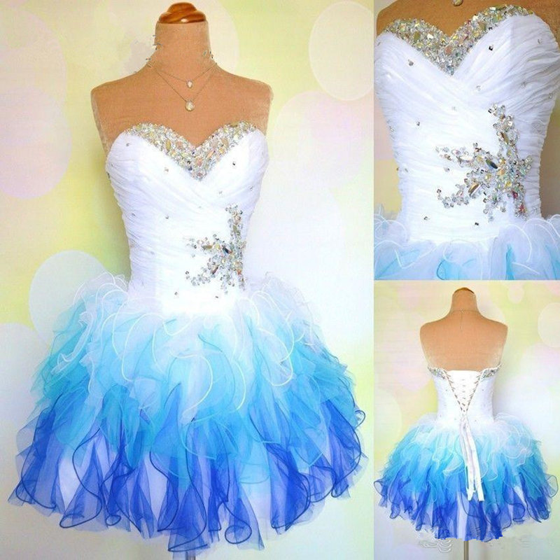 Romantic   Dresses   New Cheap Women   Cocktail     Dresses   Sweetheart Colorful Crystal Beaded Ruffles Organza Short Prom   Dresses