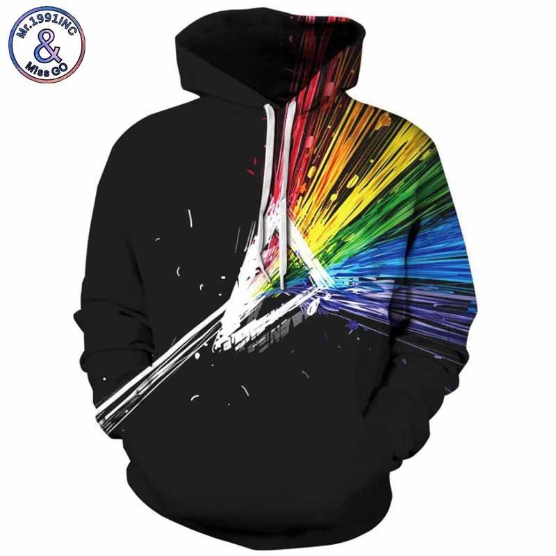 Mr.1991INC 2018 new Colorful beam printing 3d Sweatshirts Men/womens hoodie sweatshirt Casual Hooded Pullovers Men Hoodies M279