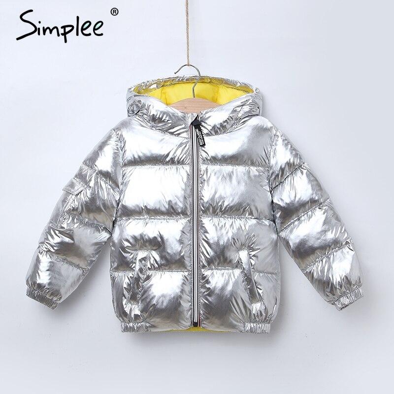 Simplee Kinder winter dicke warme jacke für mädchen jungen Mit Kapuze warme baumwolle gepolsterte mädchen parkas Kinder shiny unisex outwear 2018