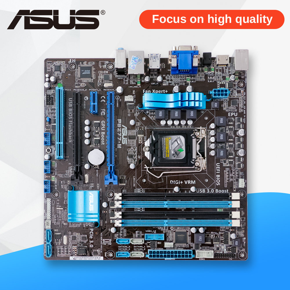 Asus P8Z77-M Desktop Motherboard Z77 Socket LGA 1155 i3 i5 i7 DDR3 32G SATA3 USB3.0 Micro ATX On Sale asrock h61m vg4 original used desktop motherboard h61 socket lga 1155 i3 i5 i7 ddr3 16g usb2 0 micro atx