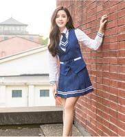 2017 New Fashion Navy seals uniforms suit Summer Blue school uniform Korean high school uniform