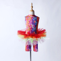 Support Dance Girls Backless Professional Ballet Tutu Dress With An Attached Pants Kids Dance Costume C193