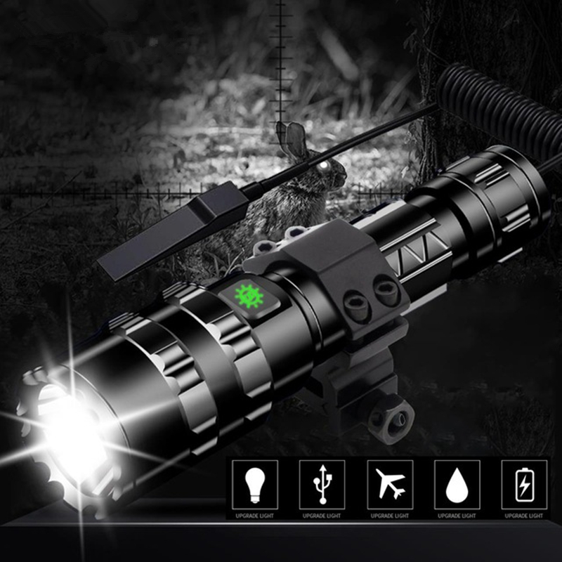 Lanterna 60000Lums Tactical USB Flashlight Rechargeble Ultra Bright L2 Waterproof Torch Hunting Light 5 Modes By 1*18650
