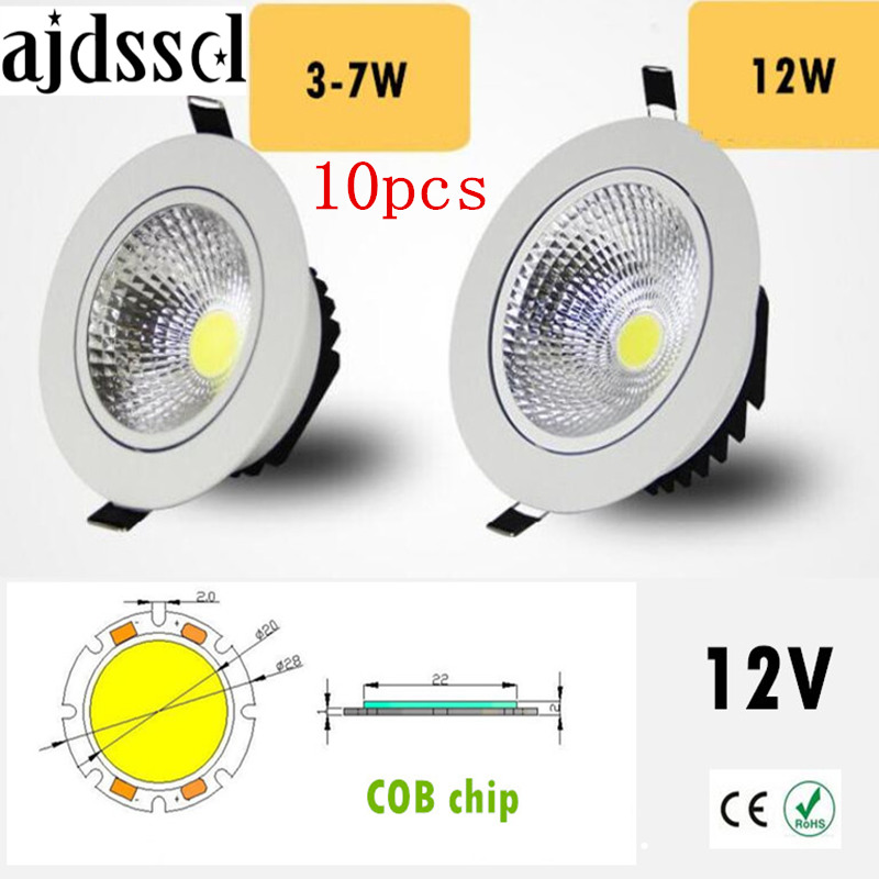 10PCS Super Bright Recessed <font><b>LED</b></font> Dimmable Downlight COB 3W <font><b>5W</b></font> 7W 12W <font><b>LED</b></font> <font><b>Spot</b></font> light <font><b>LED</b></font> decoration Ceiling Lamp AC/DC <font><b>12V</b></font> image
