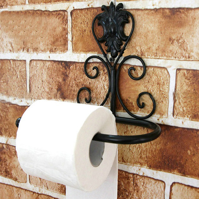 1pc Retro Carving Toilet Roll Paper Rack wiht Phone Shelf Wall Mounted Bathroom Paper Holder And Hook Home Accessories BS1519