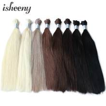 "Isheeny 14"" 18"" 20"" 22"" Remy Braiding Human Hair Bulk Straight Black Brown Blonde Natural European Hair Weft 100g(China)"